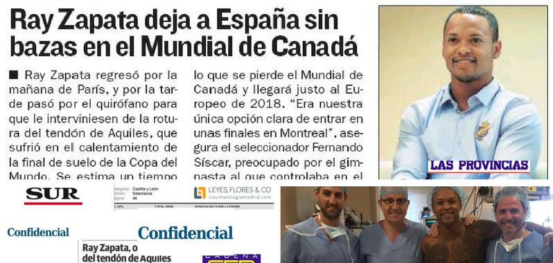 Reportes de prensa de la operación de Ray Zapata del tendón de Aquiles por los Dres. Leyes y Flores